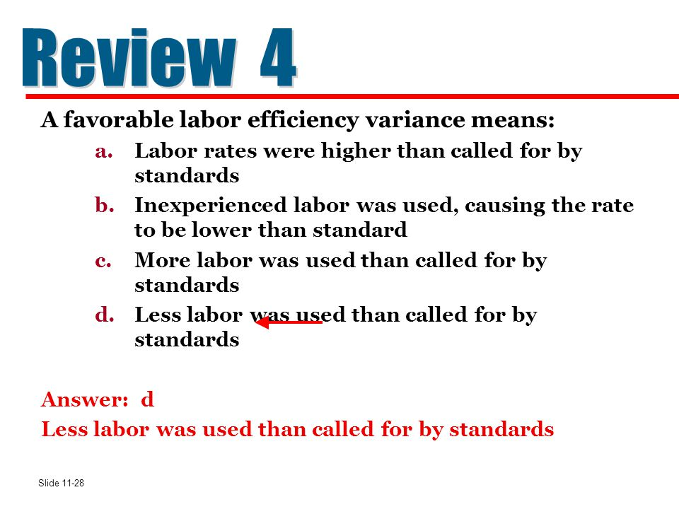 Review 4 A favorable labor efficiency variance means: