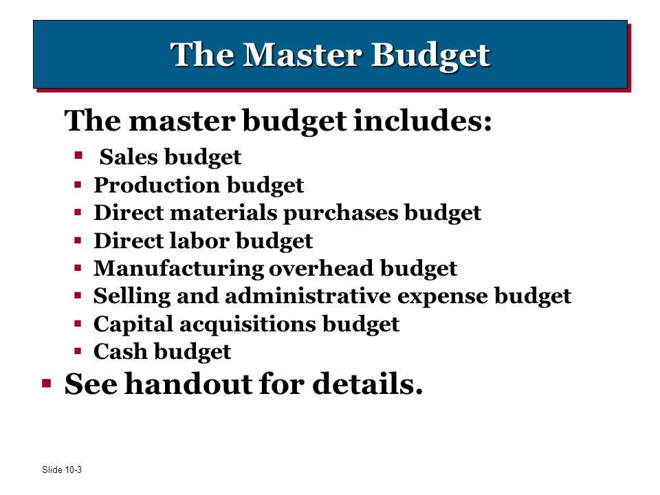 The Master Budget The master budget includes: See handout for details.