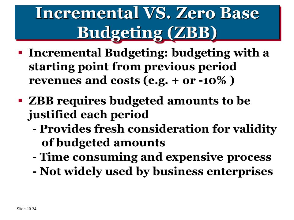 Incremental VS. Zero Base Budgeting (ZBB)