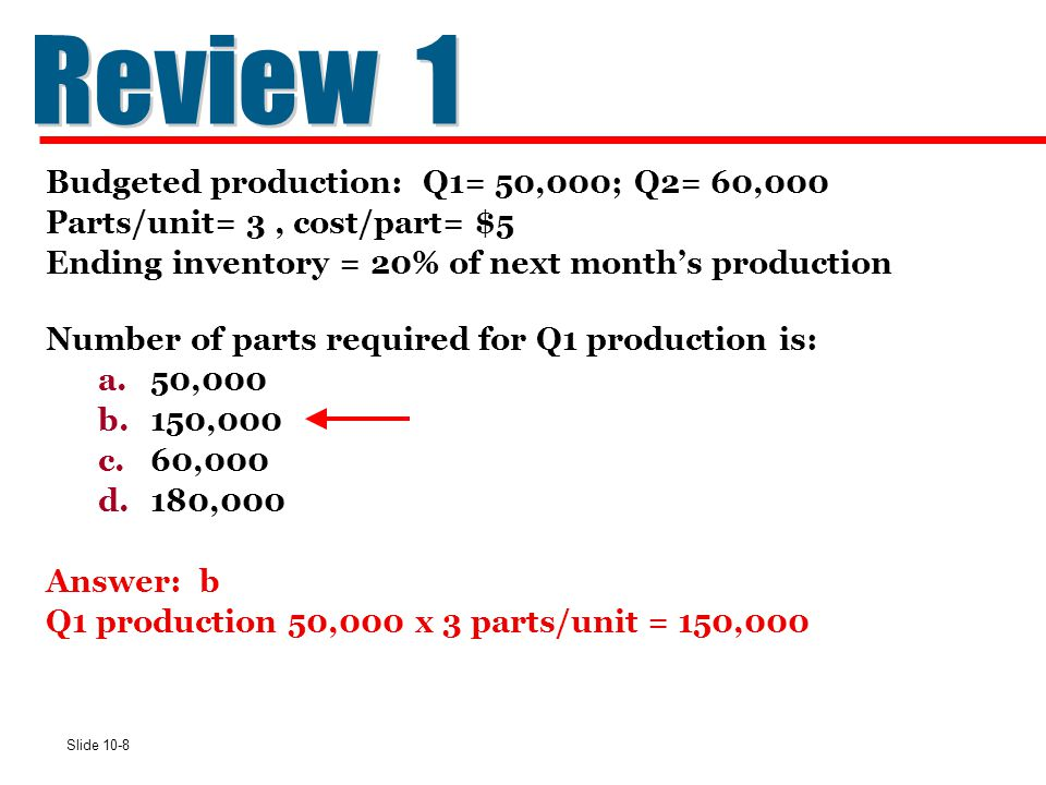 Review 1 Budgeted production: Q1= 50,000; Q2= 60,000