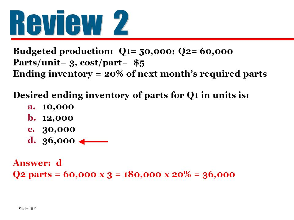 Review 2 Budgeted production: Q1= 50,000; Q2= 60,000