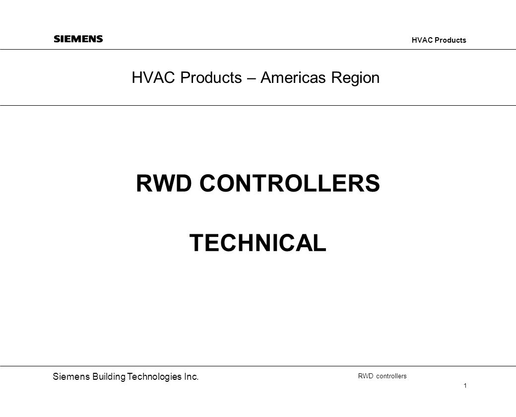 RWD CONTROLLERS TECHNICAL