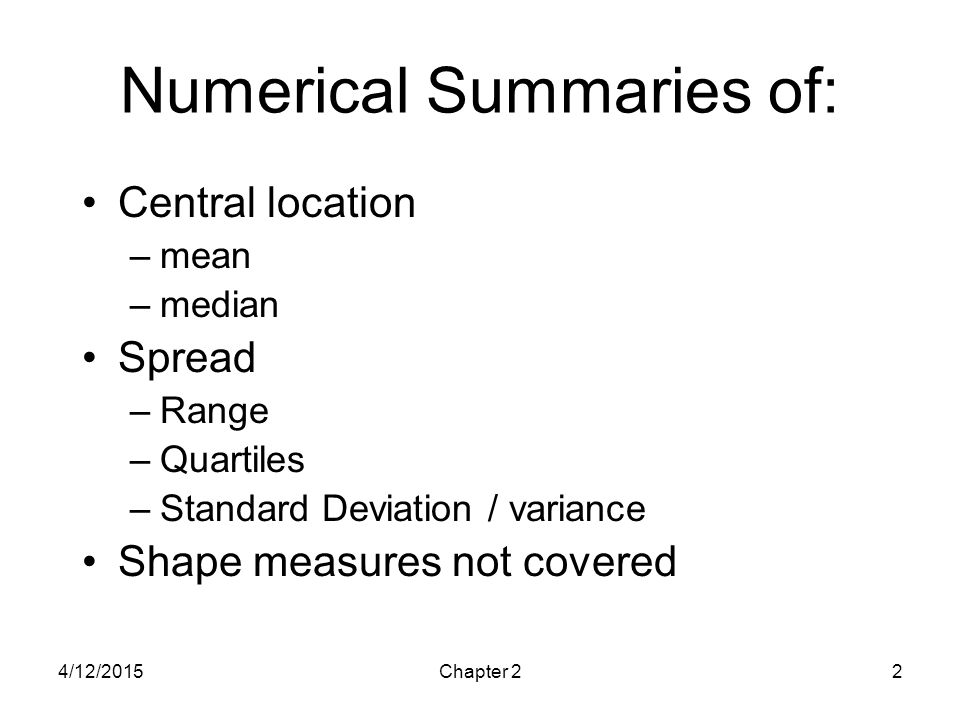 Numerical Summaries of: