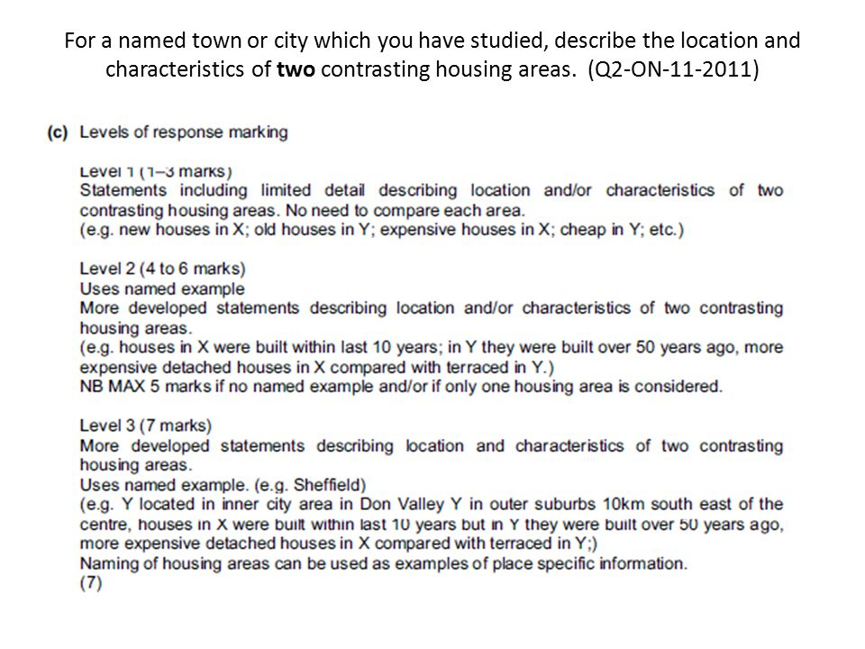For a named town or city which you have studied, describe the location and characteristics of two contrasting housing areas. (Q2-ON-11-2011)