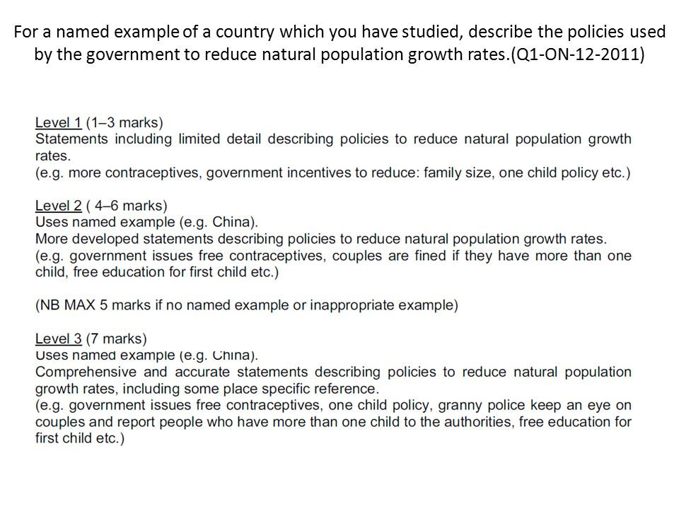 For a named example of a country which you have studied, describe the policies used by the government to reduce natural population growth rates.(Q1-ON-12-2011)