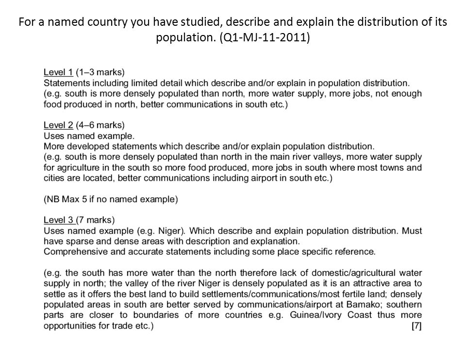 For a named country you have studied, describe and explain the distribution of its population. (Q1-MJ-11-2011)