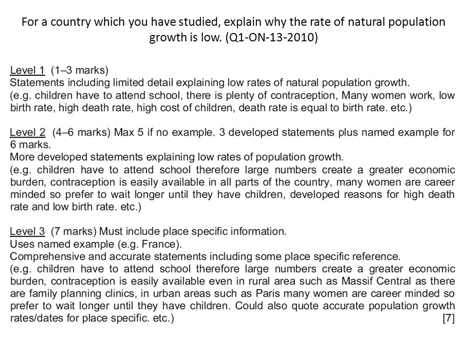 For a country which you have studied, explain why the rate of natural population growth is low. (Q1-ON-13-2010)