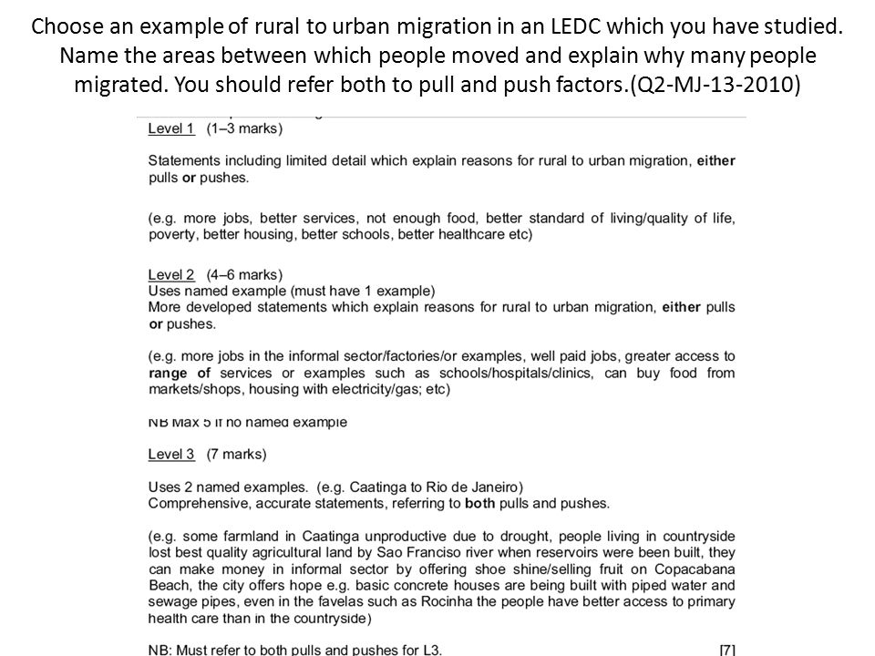 Choose an example of rural to urban migration in an LEDC which you have studied.