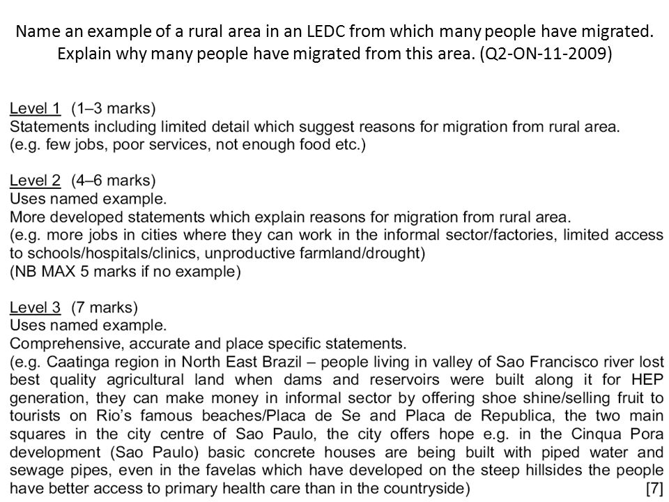 Name an example of a rural area in an LEDC from which many people have migrated.