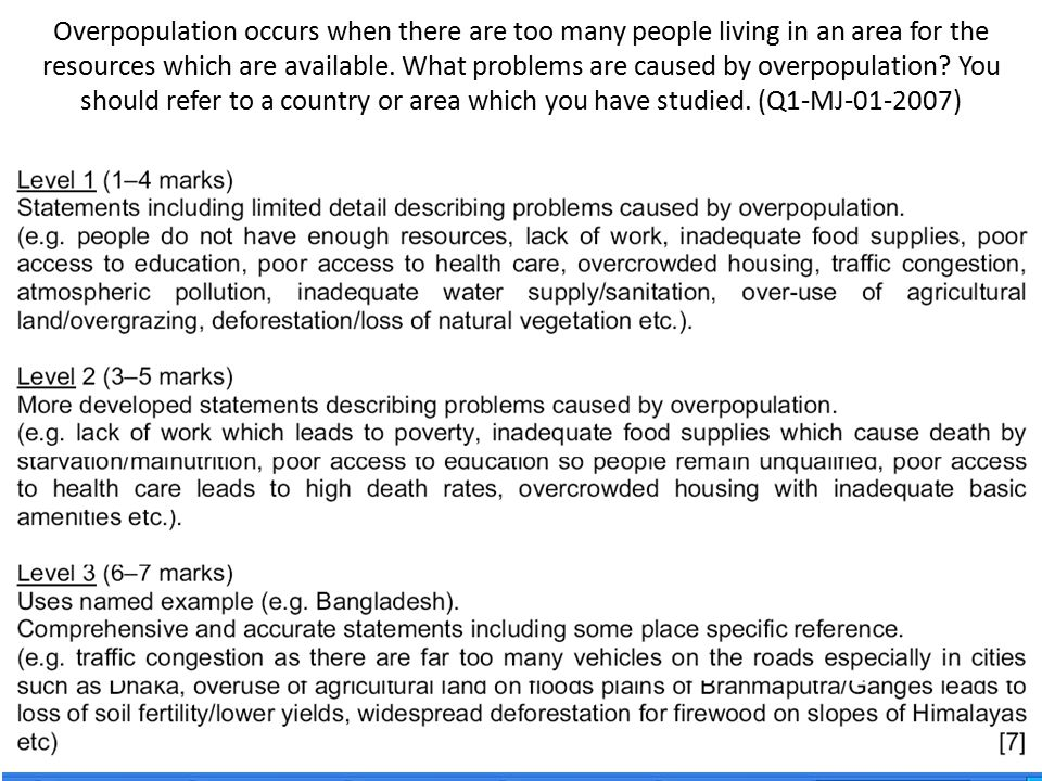 Overpopulation occurs when there are too many people living in an area for the resources which are available.
