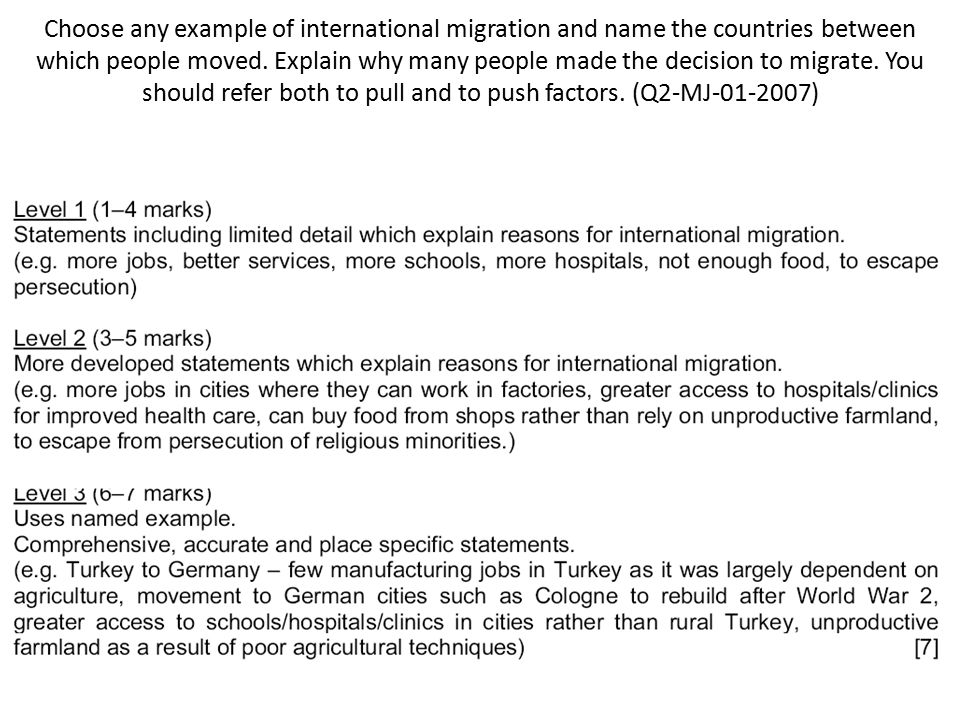 Choose any example of international migration and name the countries between which people moved.