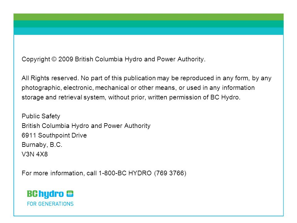 Copyright © 2009 British Columbia Hydro and Power Authority