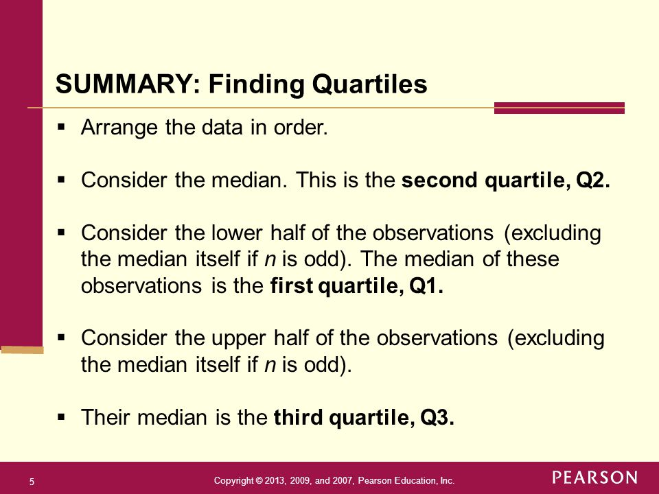 SUMMARY: Finding Quartiles