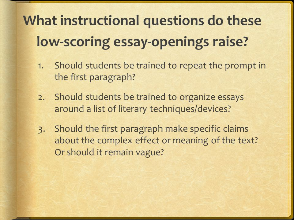 scoring essays questions To score practice essays for your students, you can follow these guidelines: the pte academic write essay task is scored on seven traits, each representing a separate.