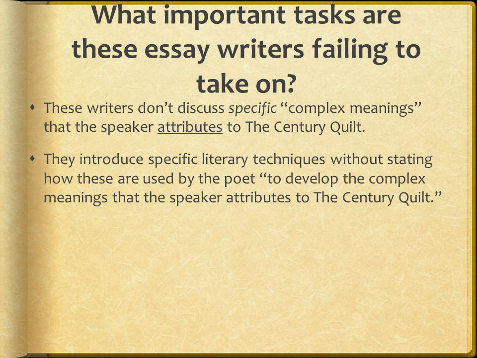 What important tasks are these essay writers failing to take on