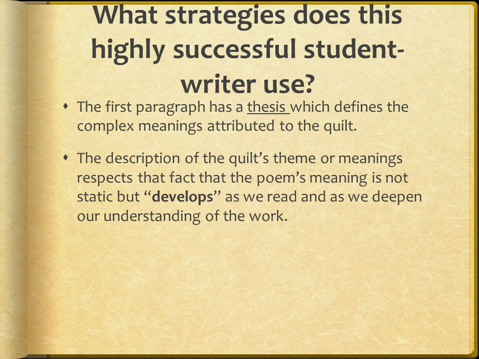 What strategies does this highly successful student-writer use