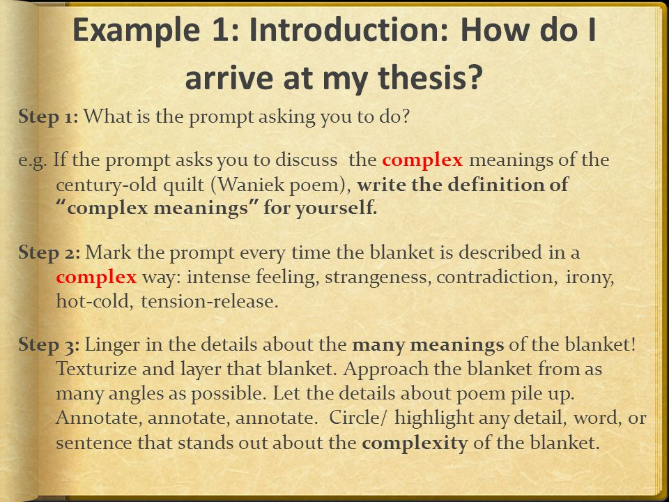 Example 1: Introduction: How do I arrive at my thesis