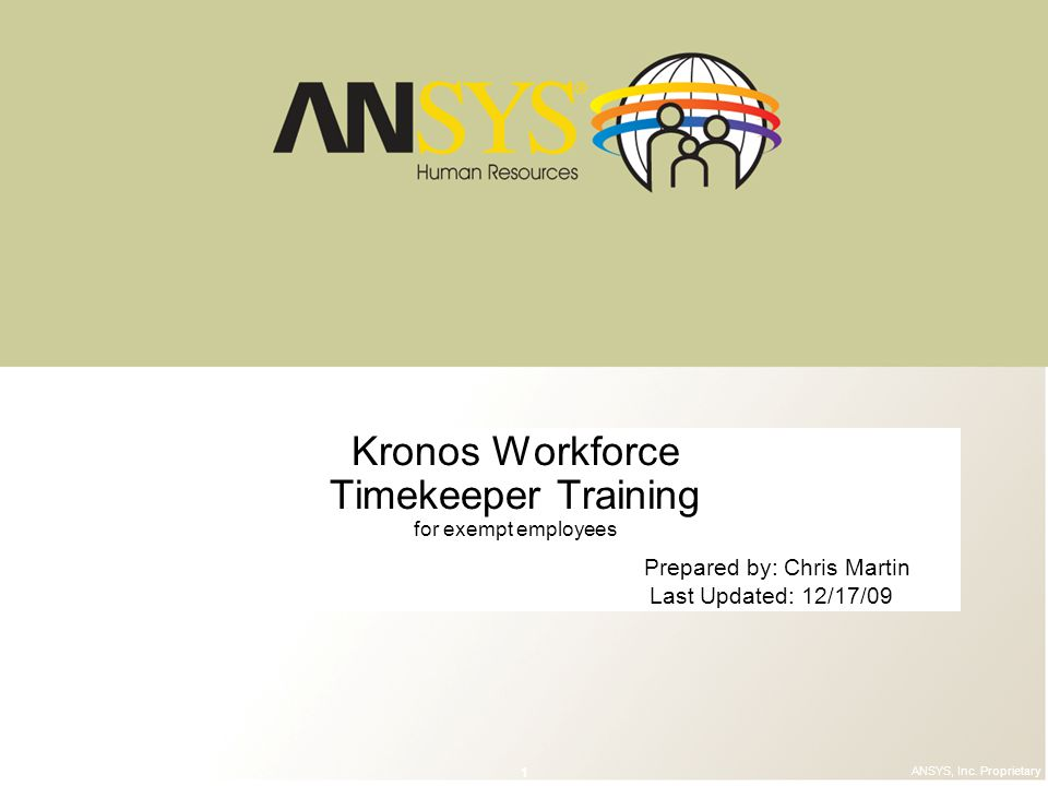 Kronos Workforce Timekeeper Training for exempt employees
