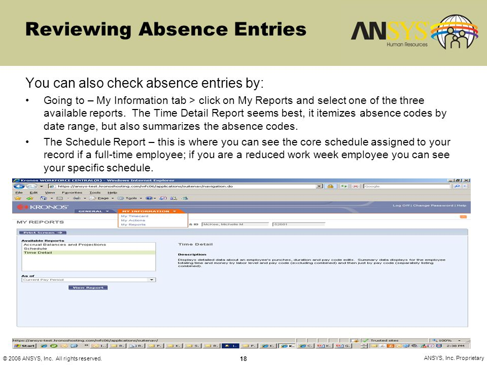 Reviewing Absence Entries