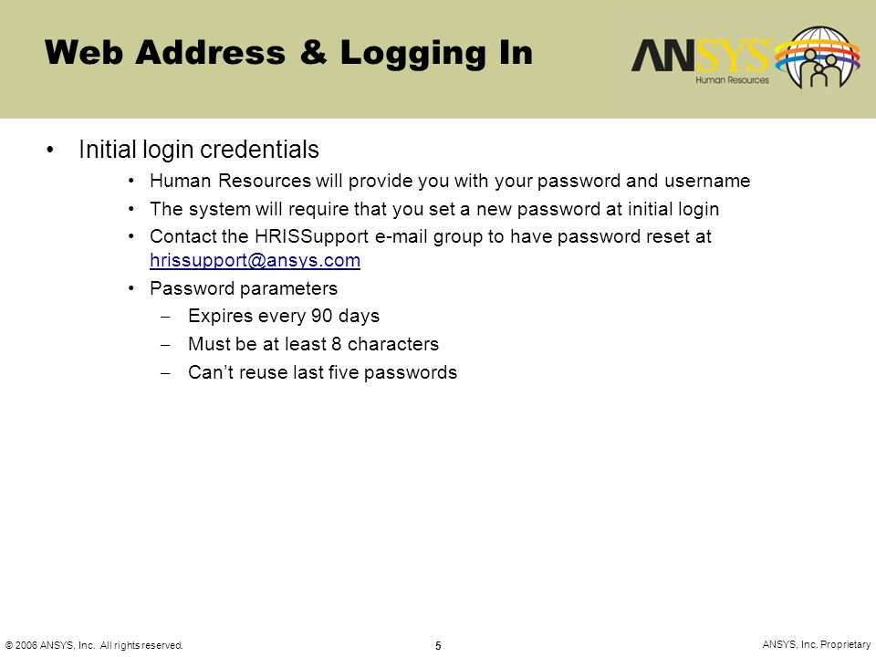 Web Address & Logging In