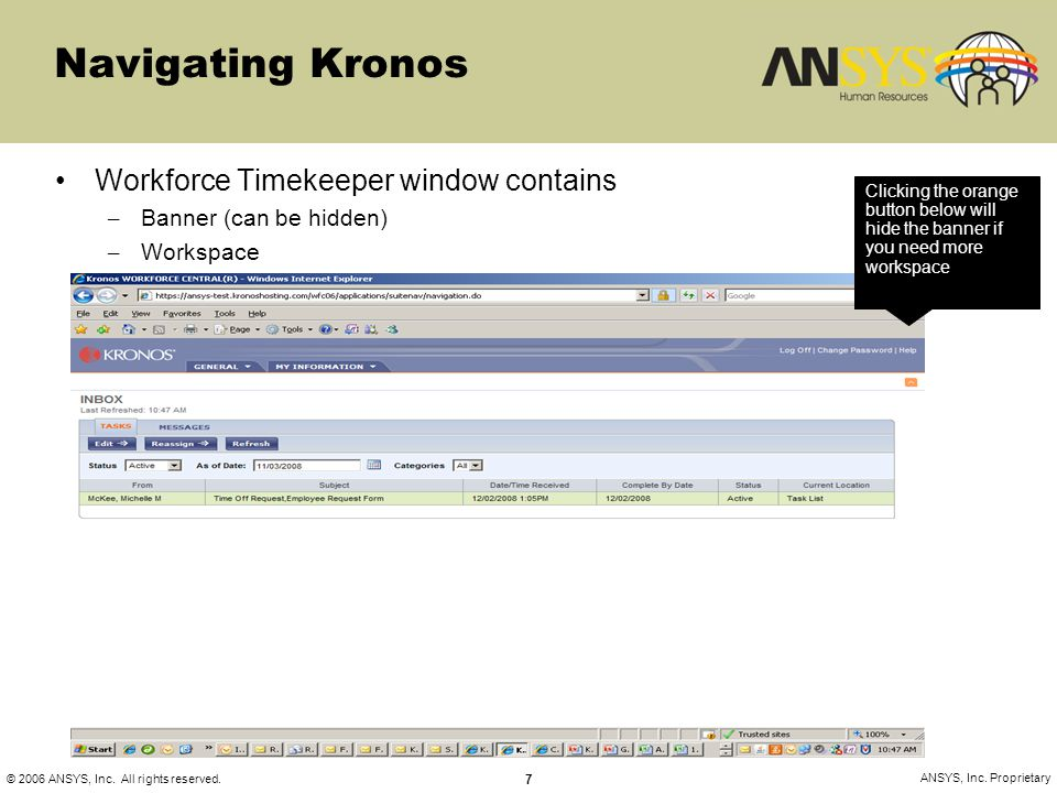 Navigating Kronos Workforce Timekeeper window contains