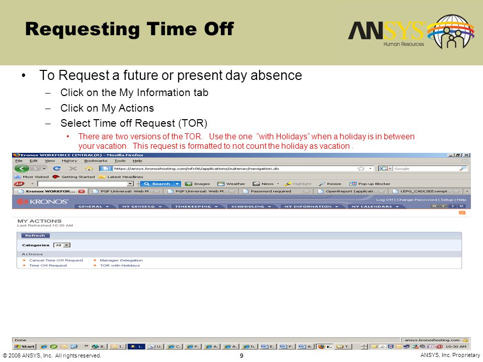 Requesting Time Off To Request a future or present day absence