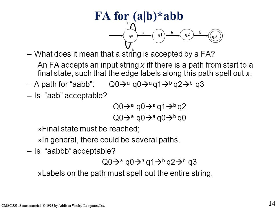 FA for (a|b)*abb What does it mean that a string is accepted by a FA