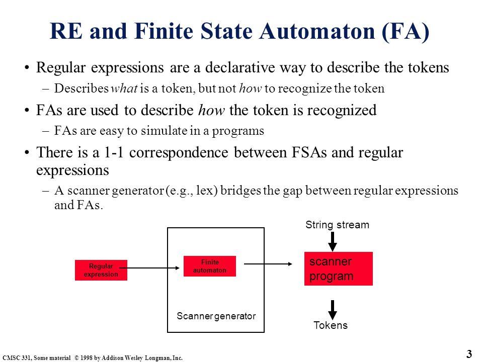 RE and Finite State Automaton (FA)