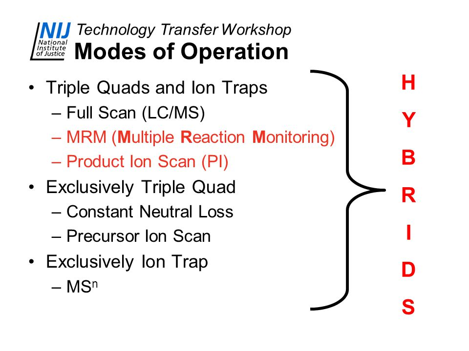 Modes of Operation H Y B R I D S Triple Quads and Ion Traps
