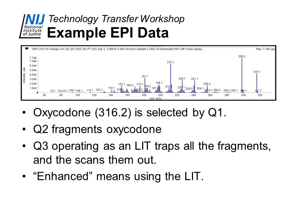 Example EPI Data Oxycodone (316.2) is selected by Q1.