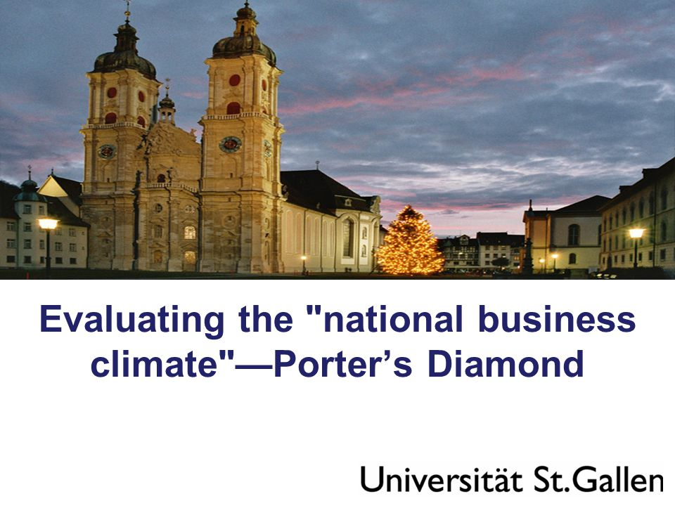 Evaluating the national business climate —Porter's Diamond