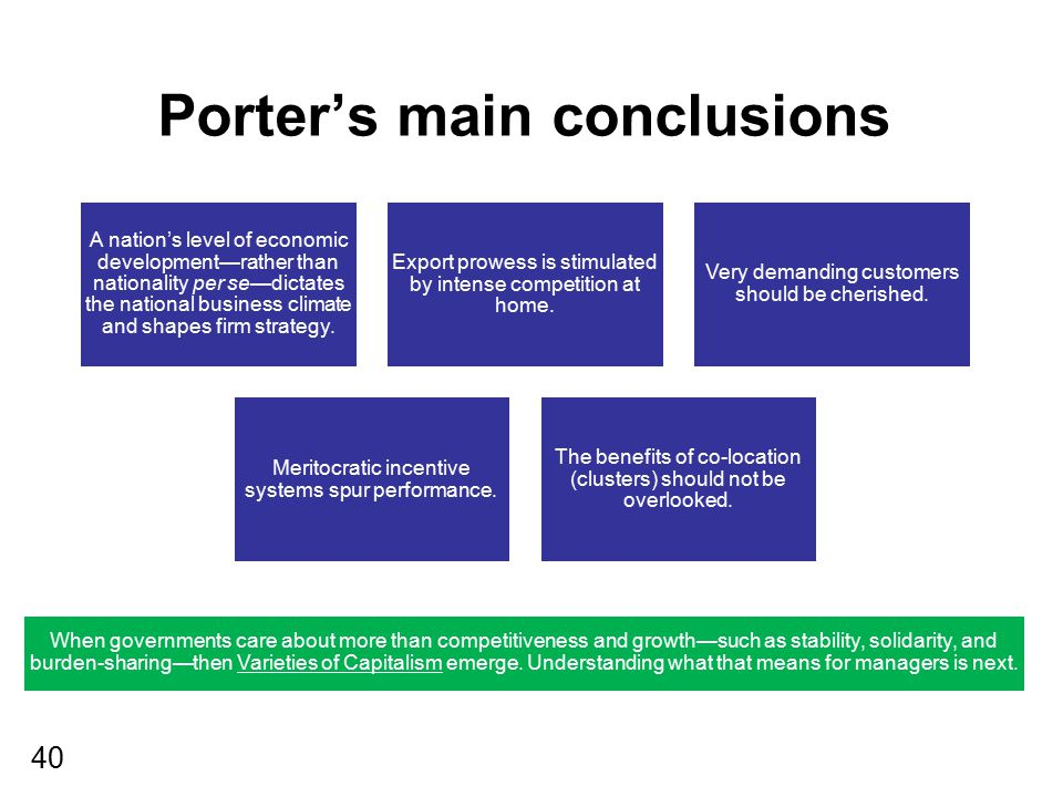 Porter's main conclusions