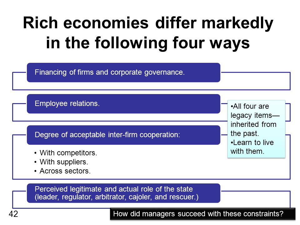 Rich economies differ markedly in the following four ways