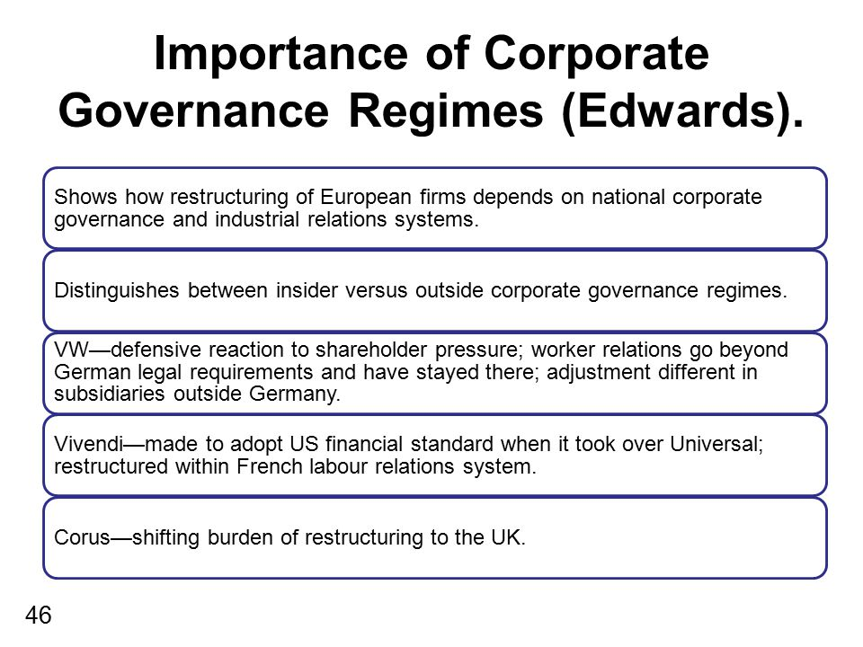 Importance of Corporate Governance Regimes (Edwards).