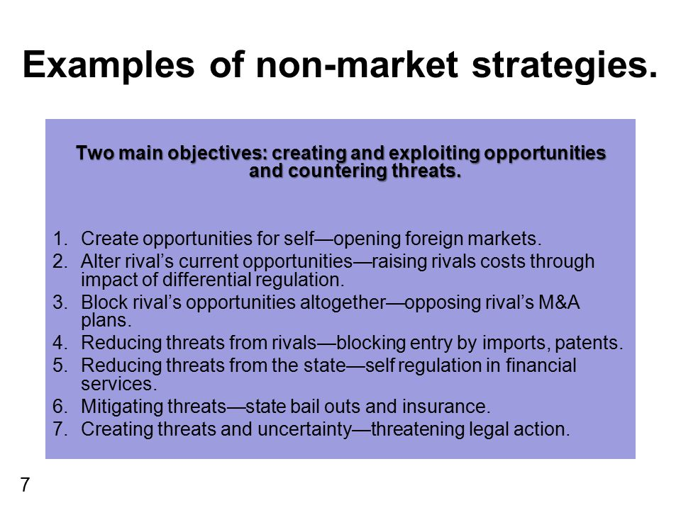 Examples of non-market strategies.