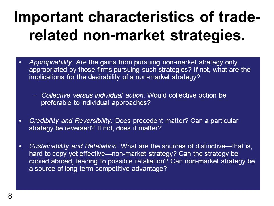 Important characteristics of trade-related non-market strategies.