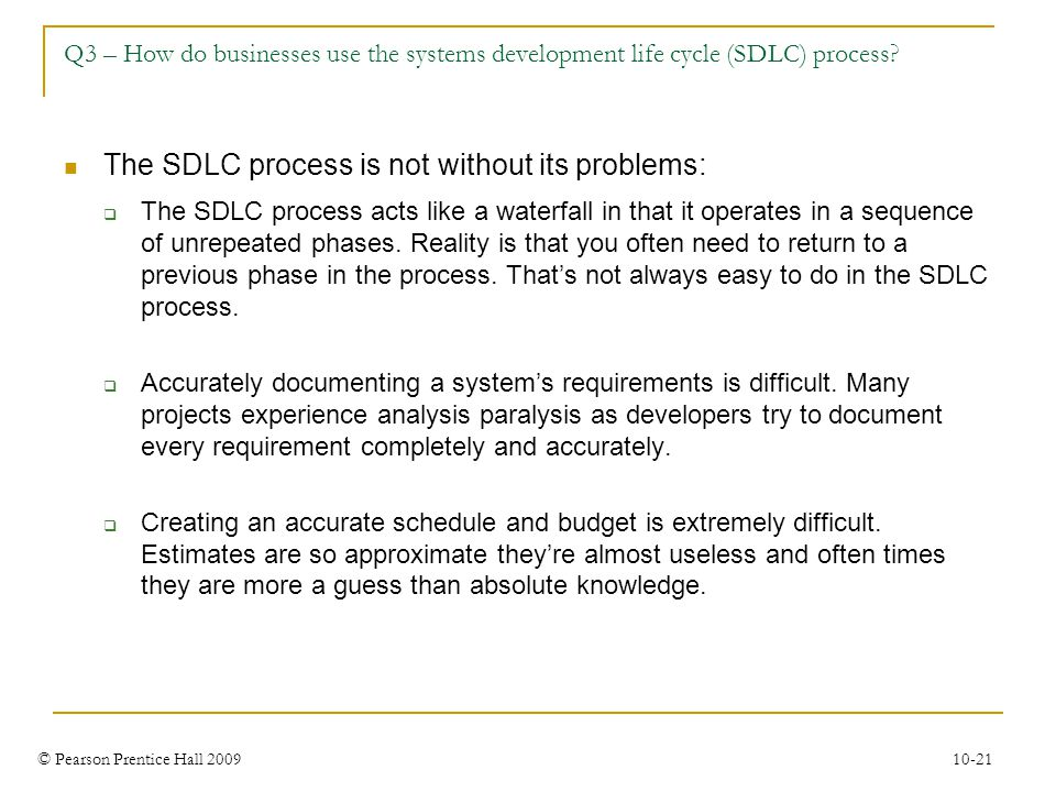 The SDLC process is not without its problems: