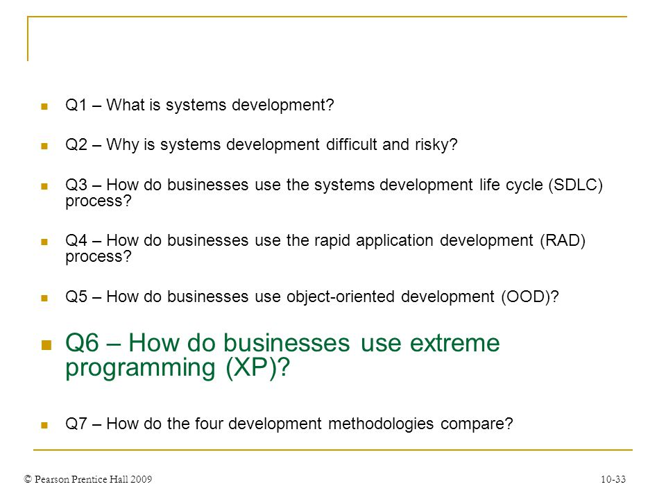 Q6 – How do businesses use extreme programming (XP)