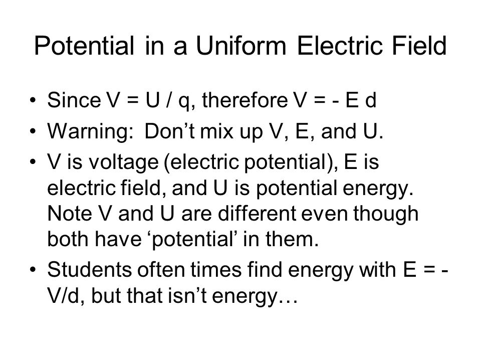 Potential in a Uniform Electric Field