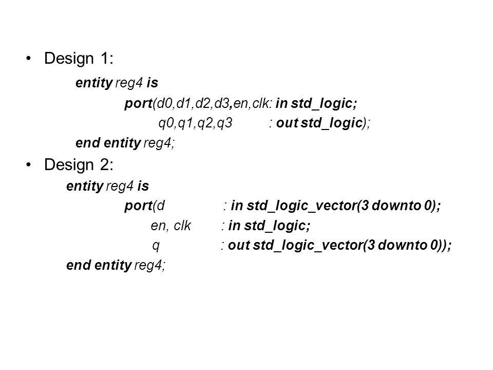 Design 1: entity reg4 is Design 2:
