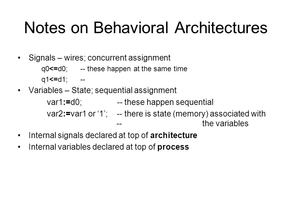 Notes on Behavioral Architectures