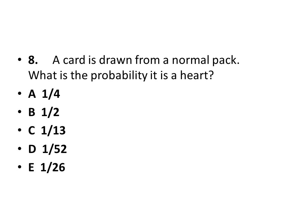 8. A card is drawn from a normal pack