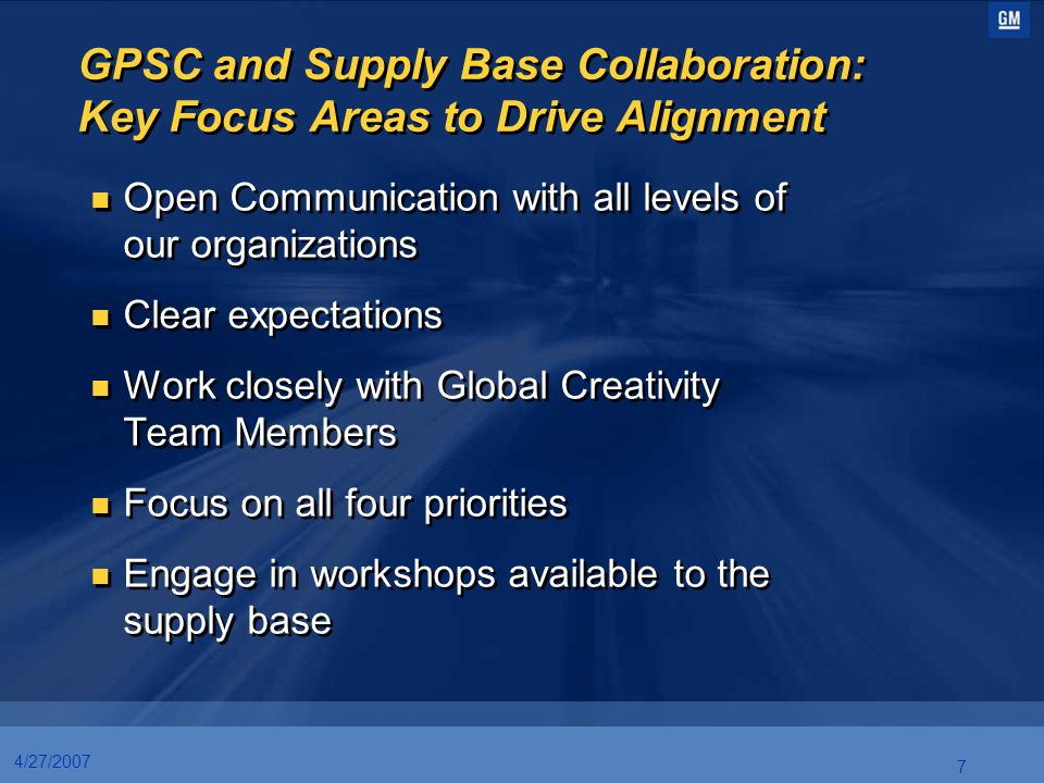 GPSC and Supply Base Collaboration: Key Focus Areas to Drive Alignment