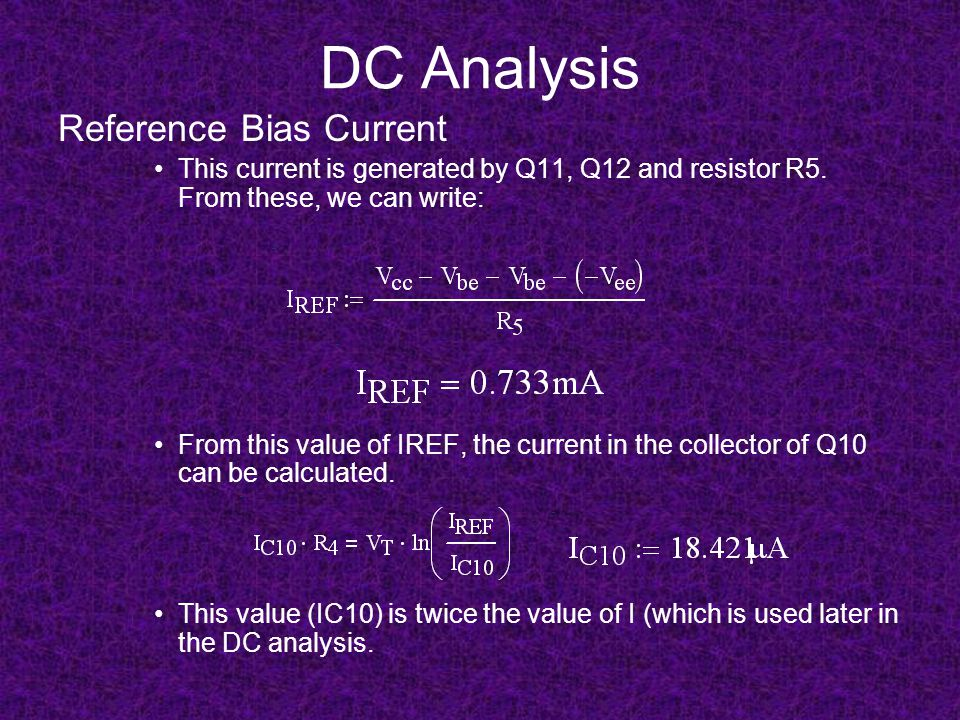 DC Analysis Reference Bias Current