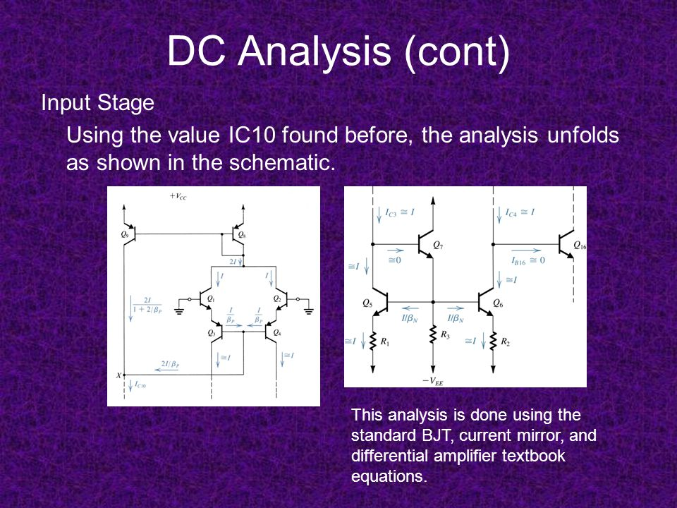 DC Analysis (cont) Input Stage