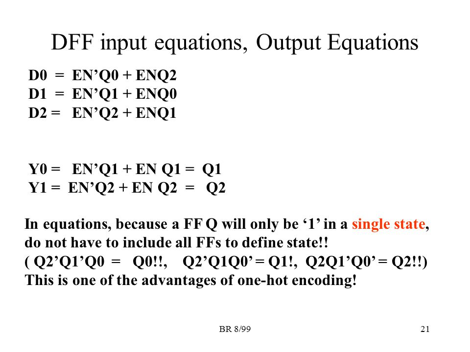 DFF input equations, Output Equations