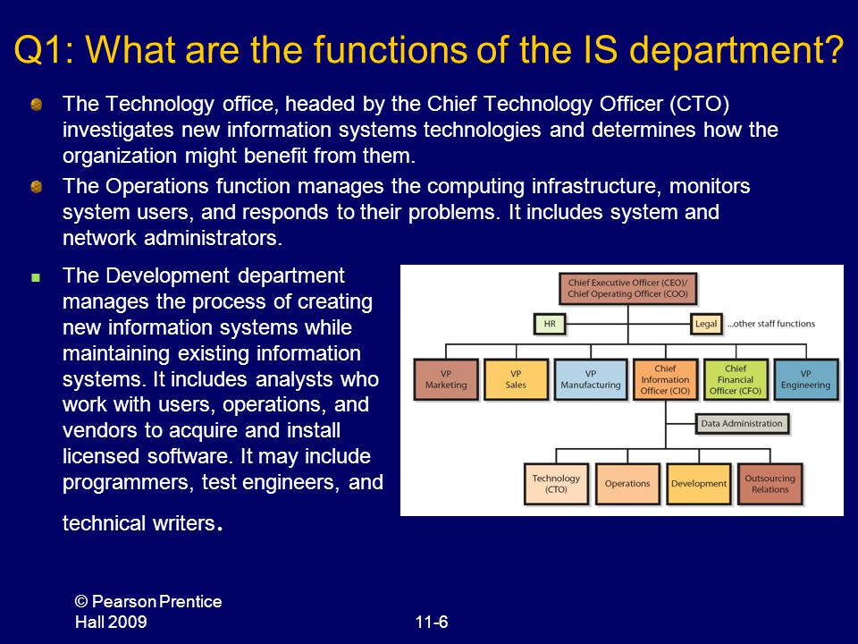 Q1: What are the functions of the IS department