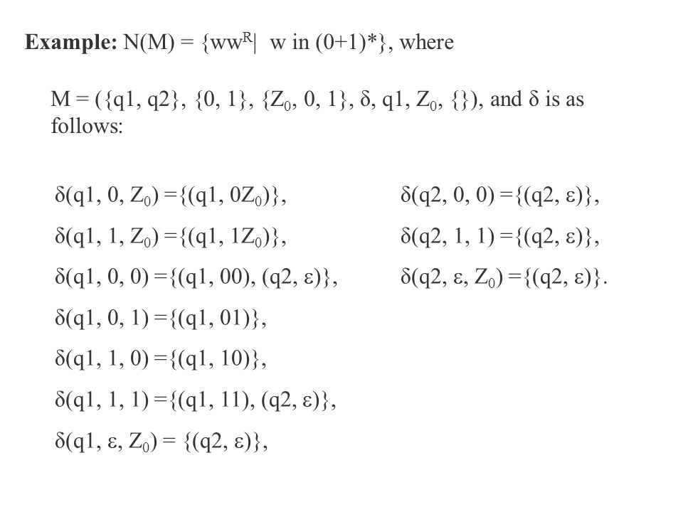 Example: N(M) = {wwR| w in (0+1)*}, where