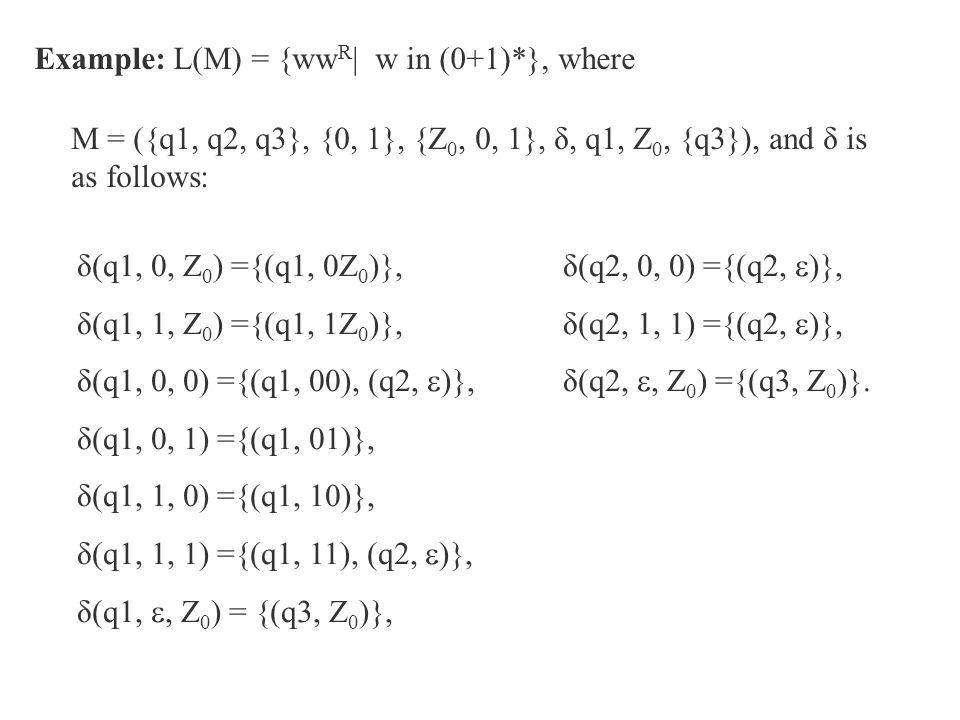 Example: L(M) = {wwR| w in (0+1)*}, where