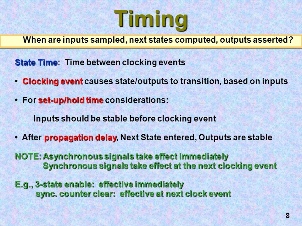 When are inputs sampled, next states computed, outputs asserted